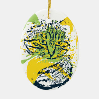 Ornamento De Cerâmica Retrato bonito do gato do Grunge