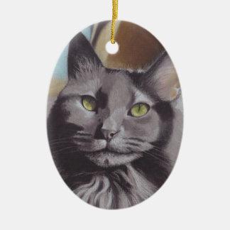 Ornamento De Cerâmica Retrato cinzento do animal de estimação do gato