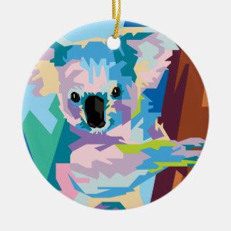 Ornamento De Cerâmica Retrato colorido do Koala do pop art