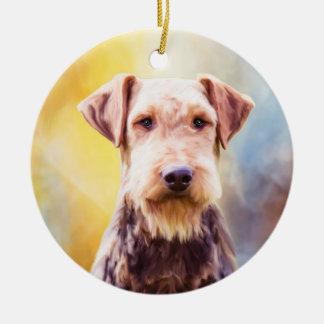 Ornamento De Cerâmica Retrato da arte da aguarela do cão de Airedale