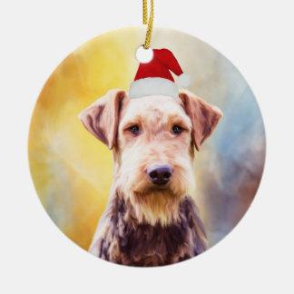 Ornamento De Cerâmica Retrato da arte do chapéu do papai noel do Natal