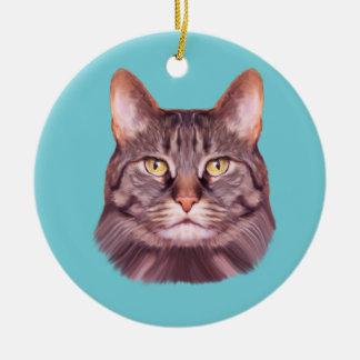 Ornamento De Cerâmica Retrato da foto do gato