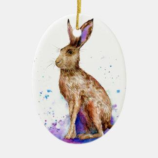Ornamento De Cerâmica Retrato da lebre da aguarela