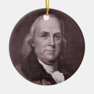 Ornamento De Cerâmica Retrato de Benjamin Franklin do vintage