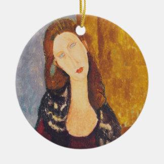 Ornamento De Cerâmica Retrato de Jeanne Hebuterne por Amedeo Modigliani