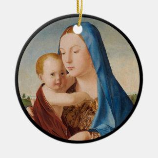 Ornamento De Cerâmica Retrato de Mary que guardara o bebê Jesus