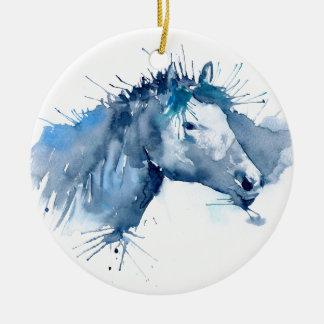 Ornamento De Cerâmica Retrato do cavalo da aguarela