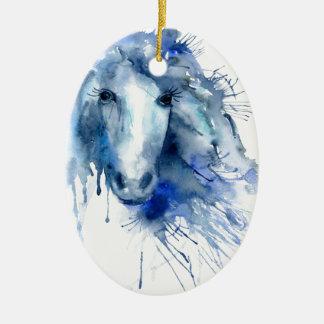 Ornamento De Cerâmica Retrato do cavalo da aguarela com splatter da