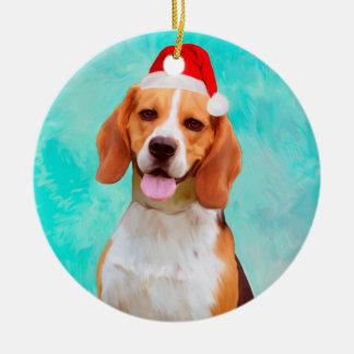 Ornamento De Cerâmica Retrato do chapéu do papai noel do Natal do cão do