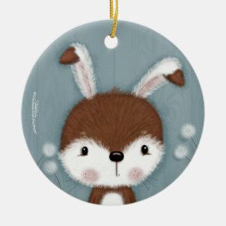 Ornamento De Cerâmica Retrato do coelho da floresta