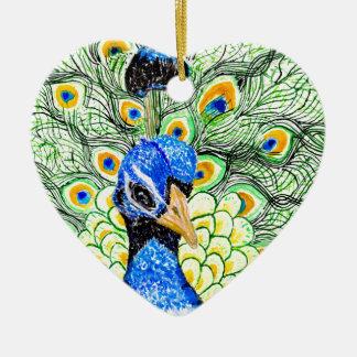 Ornamento De Cerâmica Retrato do pavão