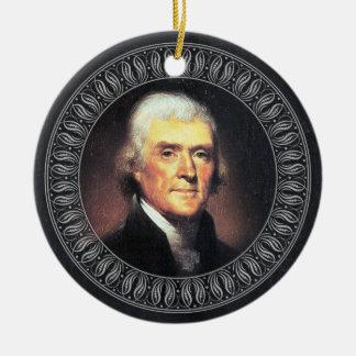 Ornamento De Cerâmica Retrato e citações de Thomas Jefferson - frente e