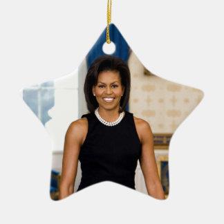 Ornamento De Cerâmica Retrato oficial da primeira senhora Michelle Obama