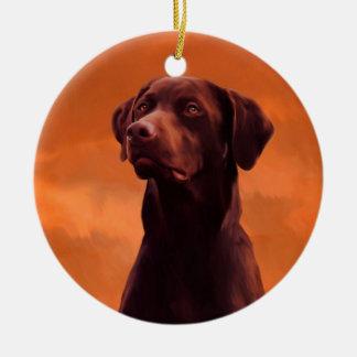 Ornamento De Cerâmica Retrato preto do cão de Labrador