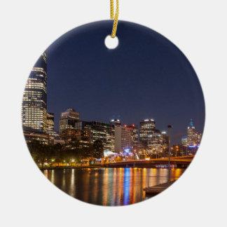 Ornamento De Cerâmica Rio de Melbourne Yarra na noite