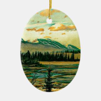 Ornamento De Cerâmica Rio do parque nacional de jaspe com Mountain View