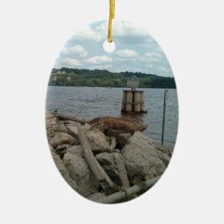 Ornamento De Cerâmica Rio Mississípi de Riverwalk Dubuque Iowa