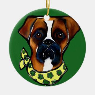 Ornamento De Cerâmica Rissol do St. do cão do pugilista