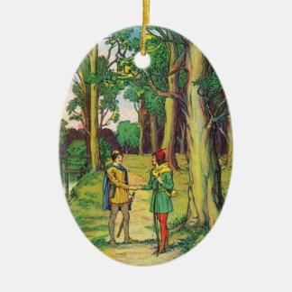 Ornamento De Cerâmica Robin Hood e John pequeno