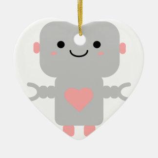 Ornamento De Cerâmica Robô bonito do coração
