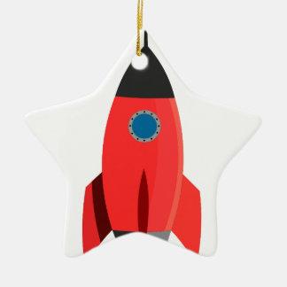 Ornamento De Cerâmica Rocket vermelho