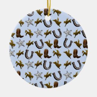 Ornamento De Cerâmica Rodeio ocidental velho do vaqueiro