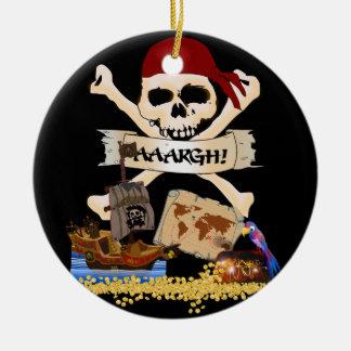 Ornamento De Cerâmica Roger alegre, navio de pirata & caixa do pirata