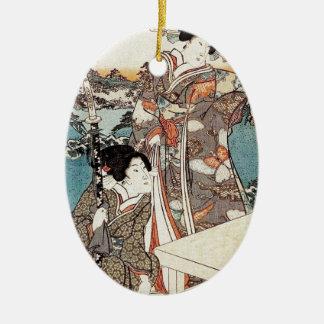 Ornamento De Cerâmica Rolo velho da gueixa japonesa do ukiyo-e do