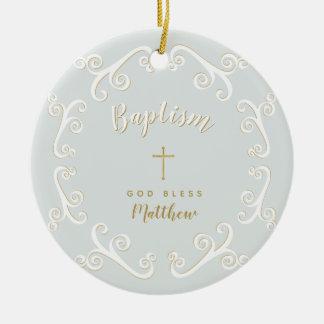 Ornamento De Cerâmica Rolos do baptismo no azul e no ouro de pó