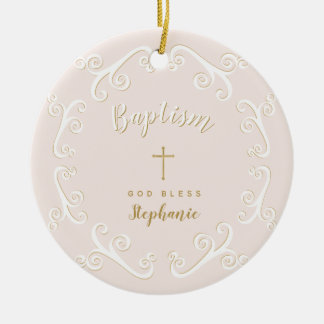 Ornamento De Cerâmica Rolos do baptismo no rosa e no ouro