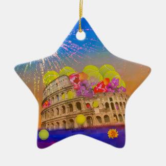 Ornamento De Cerâmica Roma comemora a estação com bolas de tênis, flores