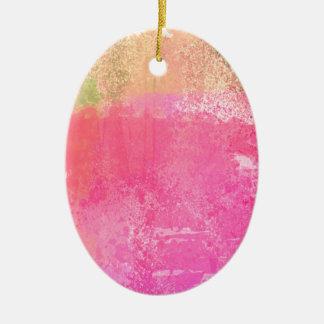 Ornamento De Cerâmica Rosa abstrato da aguarela do Grunge