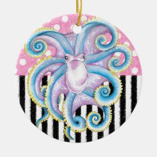Ornamento De Cerâmica Rosa artística do polvo