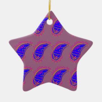 Ornamento De Cerâmica Rosa azul dos paisleys do design de Ethno