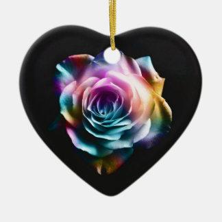 Ornamento De Cerâmica Rosa colorido da tintura do laço