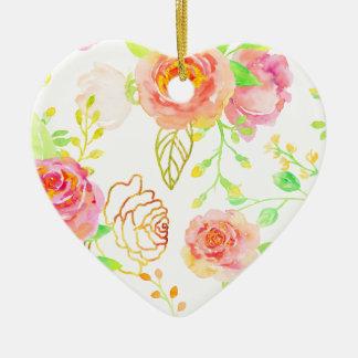 Ornamento De Cerâmica Rosa da aguarela e teste padrão cor-de-rosa do