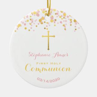 Ornamento De Cerâmica Rosa do comunhão e confetes do ouro