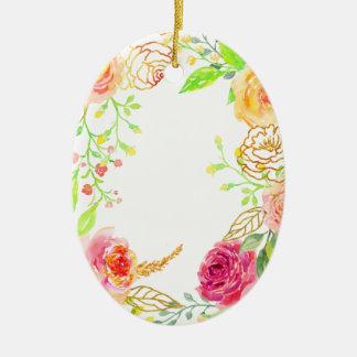Ornamento De Cerâmica Rosa do rosa da aguarela com quadro da folha de