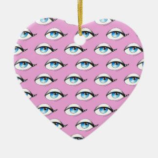 Ornamento De Cerâmica Rosa do teste padrão de olhos azuis