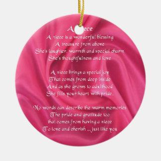 Ornamento De Cerâmica Rosa - poema da sobrinha