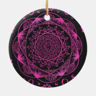 Ornamento De Cerâmica Rosa quente, despertando o teste padrão do zen,