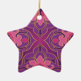 Ornamento De Cerâmica Rosa retro, roxo, quente, ouro, floral, vintage,