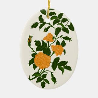 Ornamento De Cerâmica Rosas amarelos, personalizados para trás