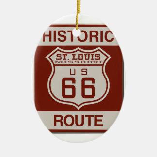 Ornamento De Cerâmica Rota 66 de St Louis