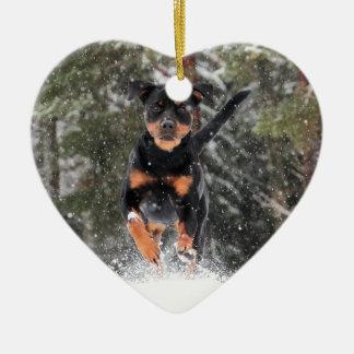 Ornamento De Cerâmica Rottweiler queFunciona na neve do inverno
