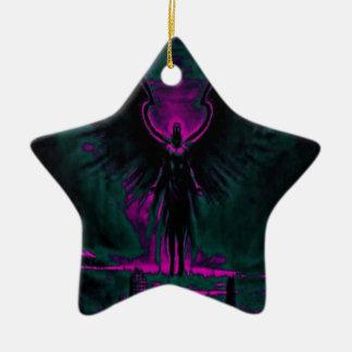Ornamento De Cerâmica Roxo angélico e cerceta do guardião