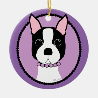 Ornamento De Cerâmica Roxo de Boston Terrier