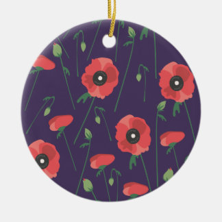 Ornamento De Cerâmica Roxo de florescência da papoila da primavera