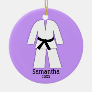 Ornamento De Cerâmica Roxo do cinturão negro do karaté de Taekwondo