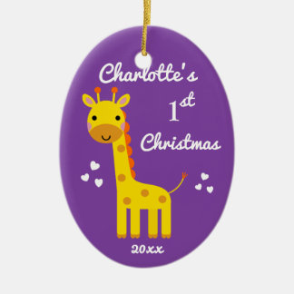 Ornamento De Cerâmica Roxo do presente do Natal do bebê do girafa do
